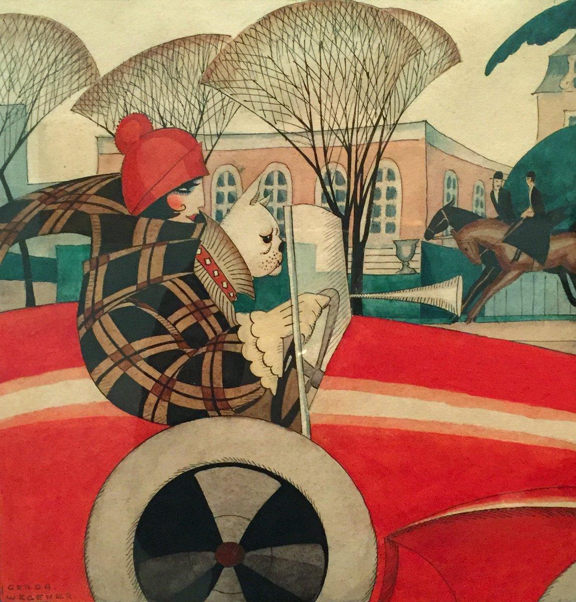 """Художники, картина """"Дама в красном автомобиле с собакой"""", 20x21 см, на бумаге от Artwall"""