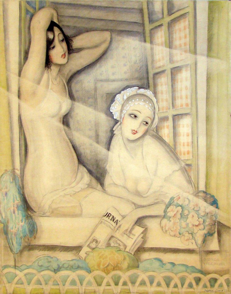 """Художники, картина """"Две женщины в окне"""", 20x25 см, на бумаге от Artwall"""