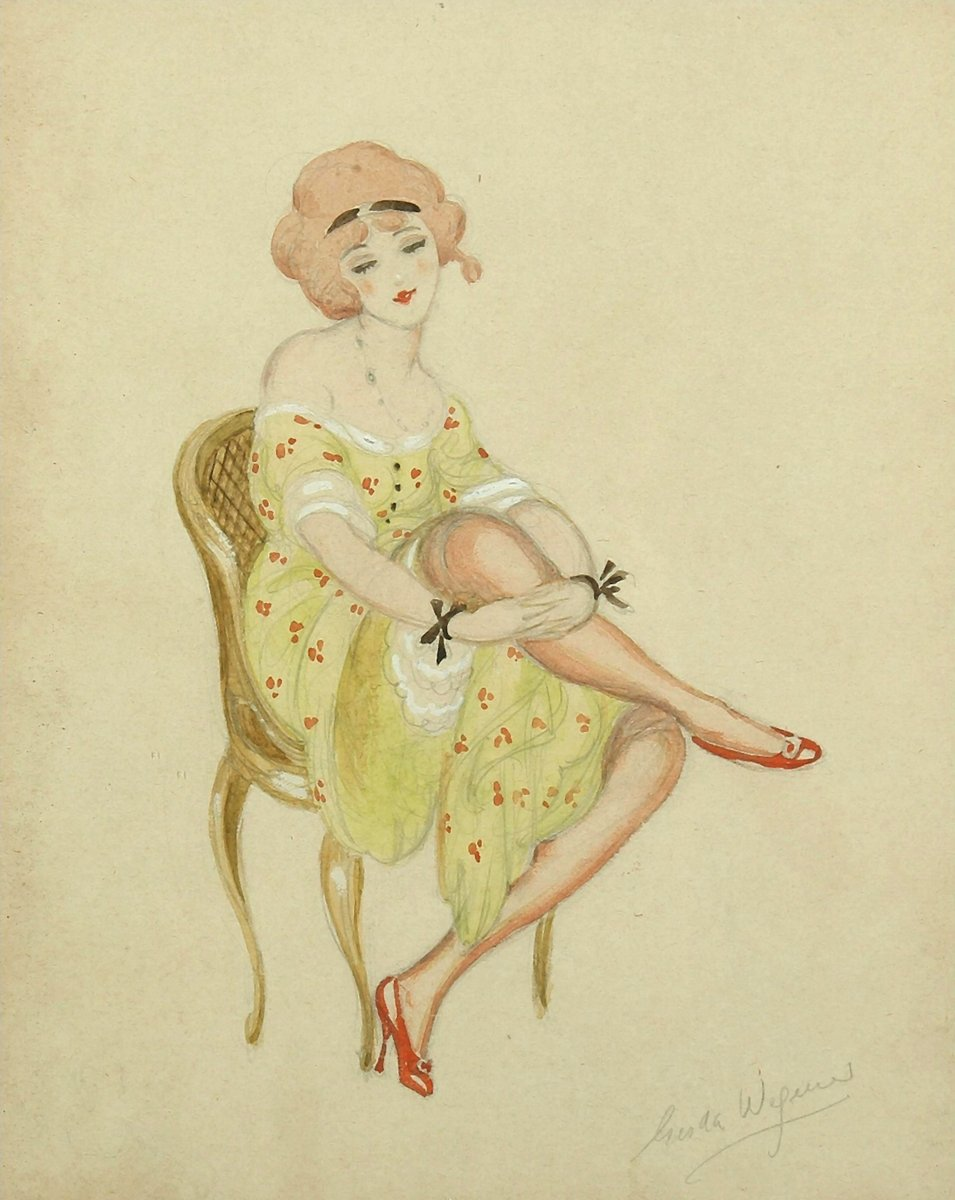 """Художники, картина """"Девушка с красными туфлями"""", 20x25 см, на бумаге от Artwall"""