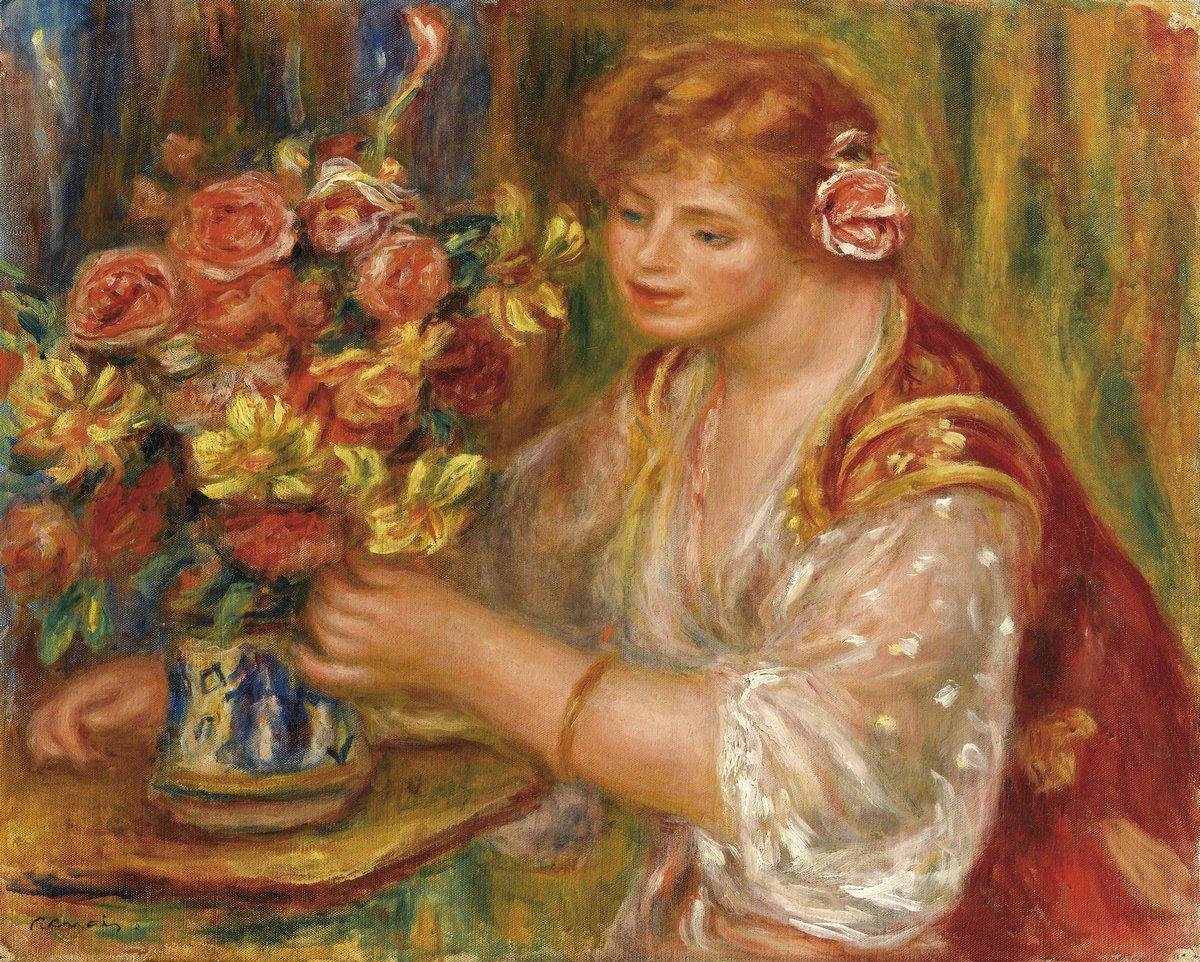 "Художники, картина ""Девушка и букет в вазе"", 25x20 см, на бумаге от Artwall"