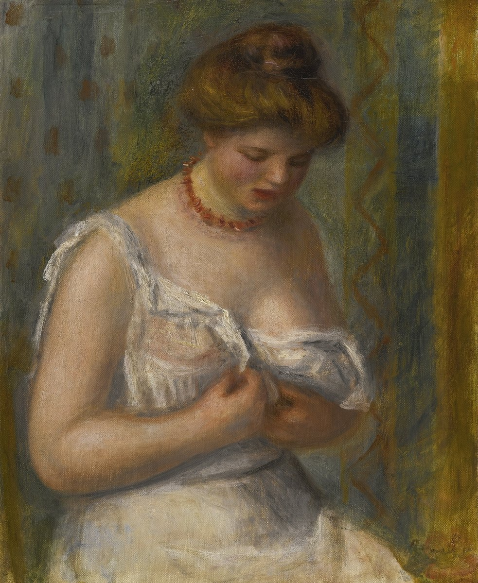 """Художники, картина """"Женщина в белой рубашке"""", 20x24 см, на бумаге от Artwall"""