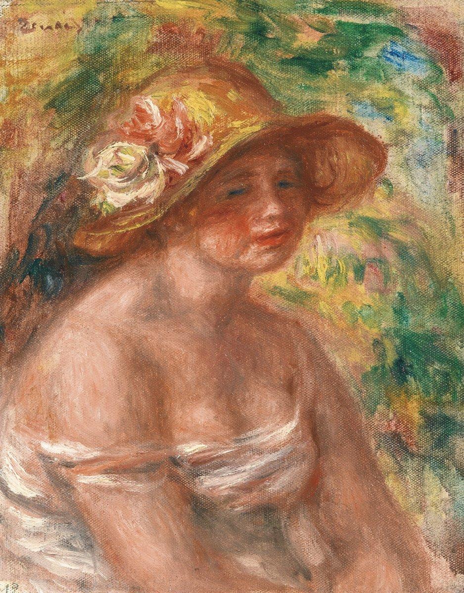 """Художники, картина """"Женщина в соломенной шляпе"""", 20x26 см, на бумаге от Artwall"""