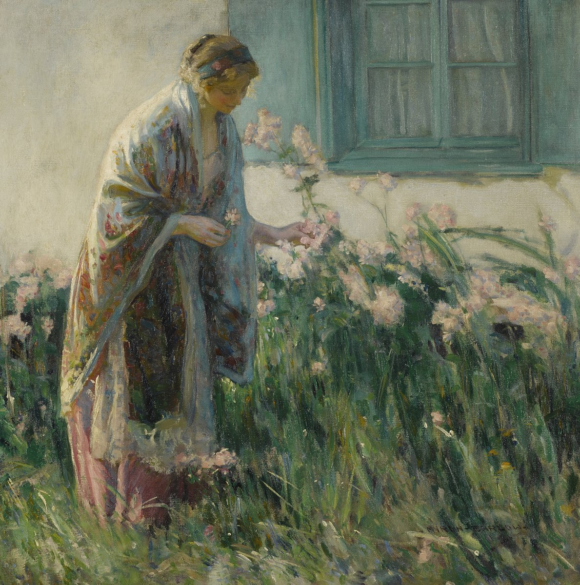 "Художники, картина ""Барлоу Майрон «В саду»"", 20x20 см, на бумаге от Artwall"