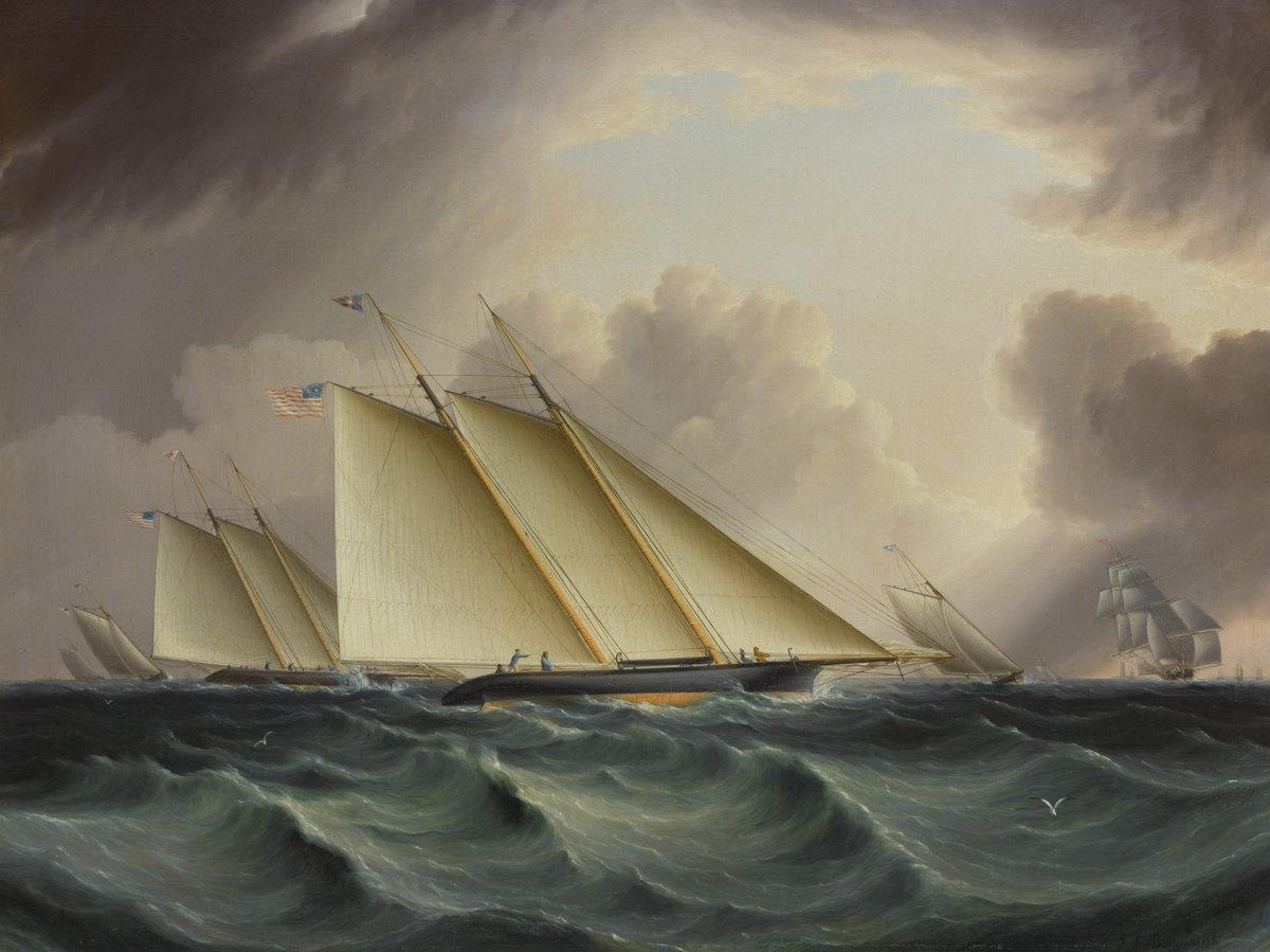 """Художники, картина """"Баттерсворт Джеймс «Гонки в нью-йоркской гавани»"""", 27x20 см, на бумаге от Artwall"""