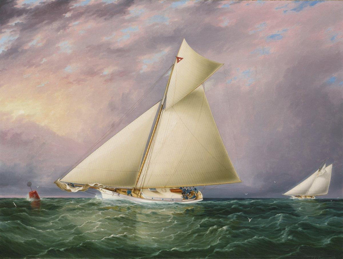 """Художники, картина """"Баттерсворт Джеймс «Гонки яхт в бухте Нью Йорка»"""", 27x20 см, на бумаге от Artwall"""