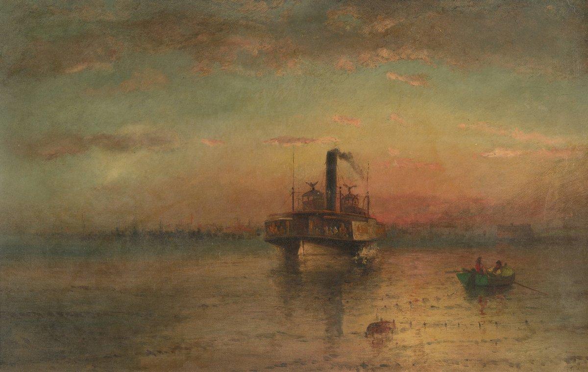 """Художники, картина """"Бейкер Элайша «Отплытие парома, гавань Нью Йорка»"""", 32x20 см, на бумаге от Artwall"""