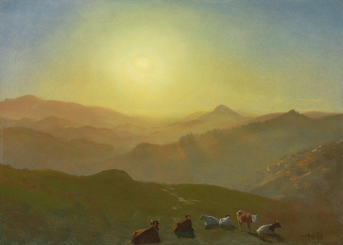 """Художники, картина """"Бирстадт Альберт «Вид из тени на Клей Хилл»"""", 28x20 см, на бумаге от Artwall"""