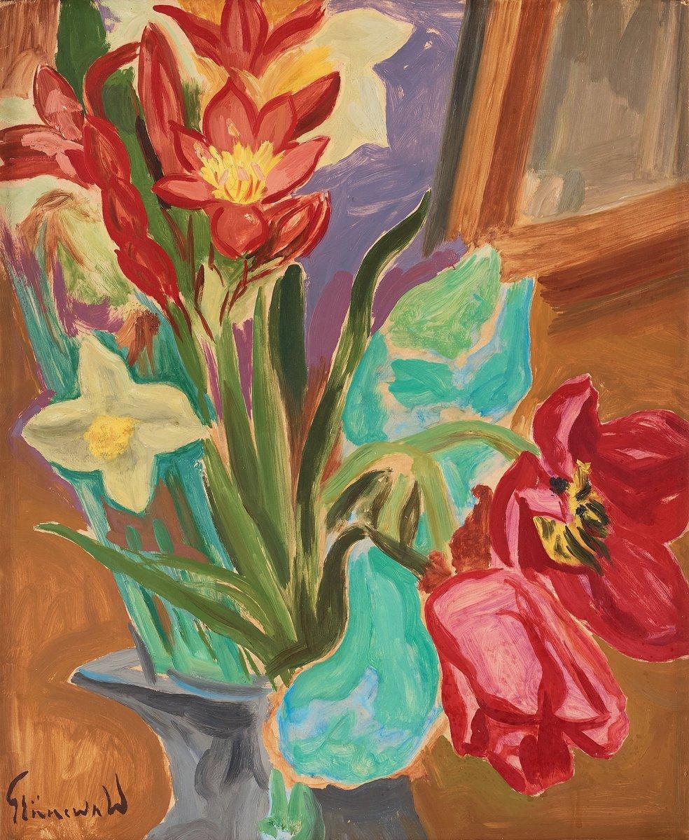 """Художники, картина """"Амариллисы и тюльпаны"""", 20x24 см, на бумаге от Artwall"""