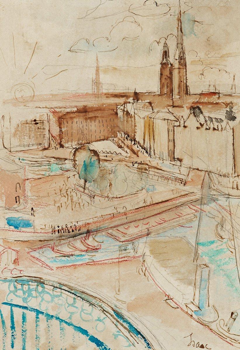"""Художники, картина """"Вид на старый город"""", 20x29 см, на бумаге от Artwall"""