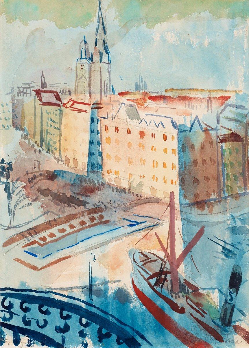 """Художники, картина """"Вид на Стокгольм"""", 20x28 см, на бумаге от Artwall"""