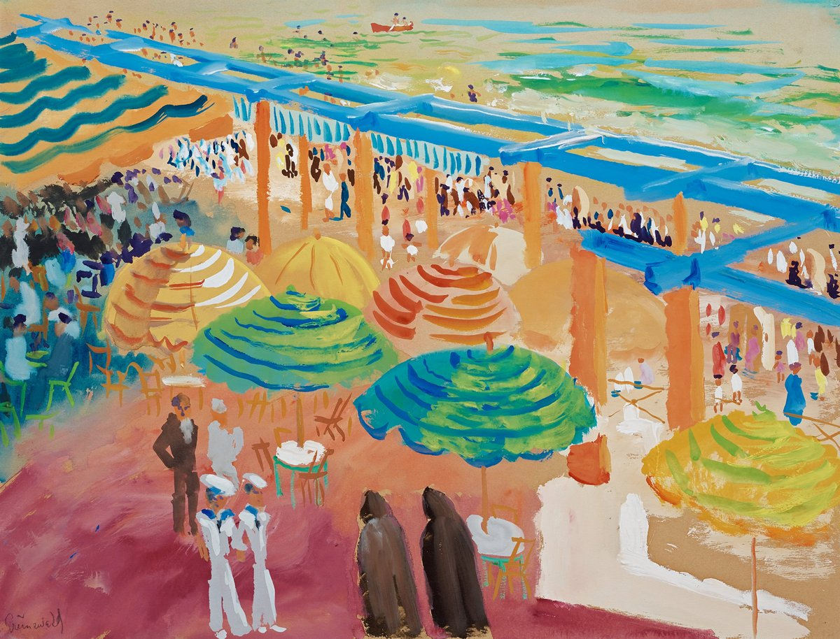 "Художники, картина ""Голубой навес, Кадис"", 26x20 см, на бумаге от Artwall"