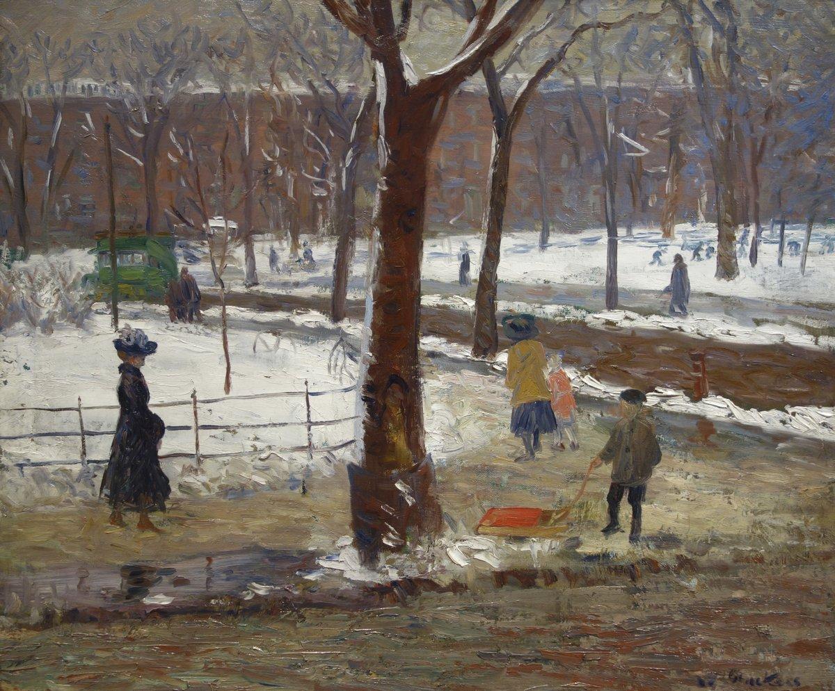 "Художники, картина ""Вашингтон-Сквер-парк, зима"", 24x20 см, на бумаге от Artwall"