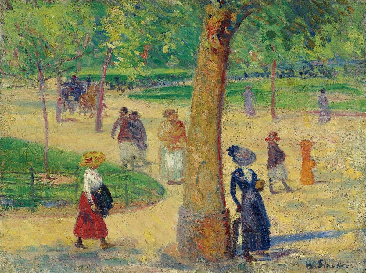 """Художники, картина """"Вашингтон-Сквер-парк"""", 27x20 см, на бумаге от Artwall"""