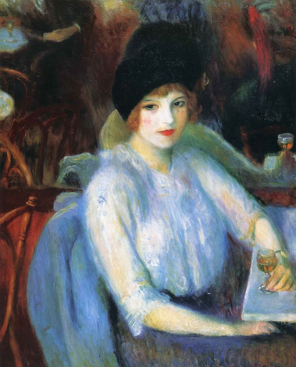 "Художники, картина ""Женщина в кафе"", 20x25 см, на бумаге от Artwall"