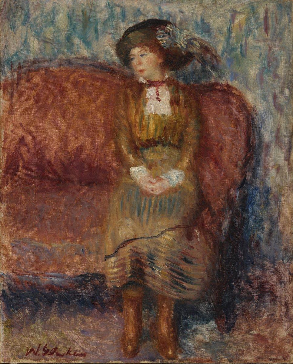 """Художники, картина """"Женщина на красном диване"""", 20x25 см, на бумаге от Artwall"""