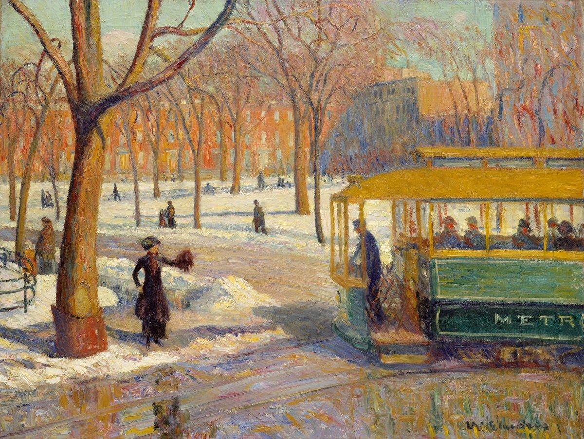 """Художники, картина """"Зеленый трамвай"""", 27x20 см, на бумаге от Artwall"""
