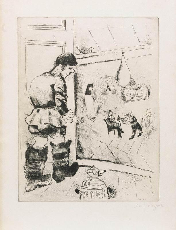 """Художники, картина """"Иллюстрация М. Шагала из книги """"Мертвые души"""""""", 20x26 см, на бумаге от Artwall"""