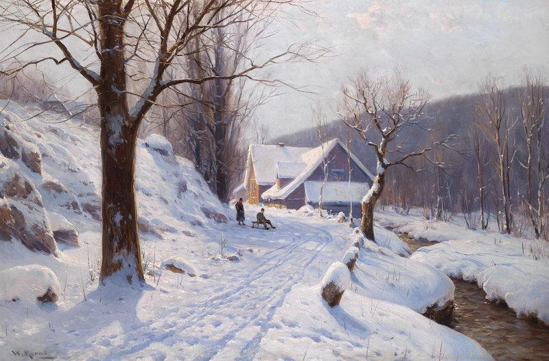 """Пейзажи """"Морас Вальтер, Катание на санях в солнечный зимний день"""", 30x20 см, на бумаге от Artwall"""
