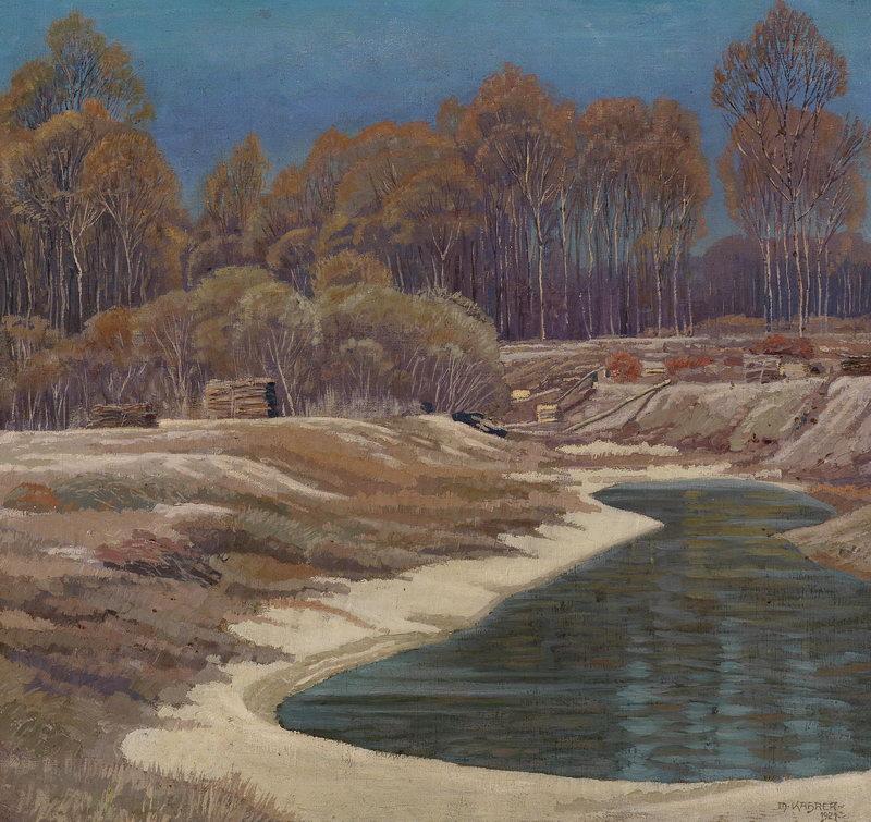 "Пейзажи ""Кахрер Макс, Пруд на лугу"", 21x20 см, на бумаге от Artwall"