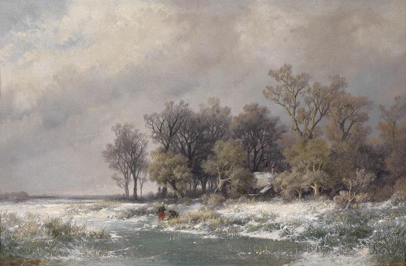 "Пейзажи ""Хаанен Ремигиус ван, Зимний пейзаж"", 31x20 см, на бумаге от Artwall"