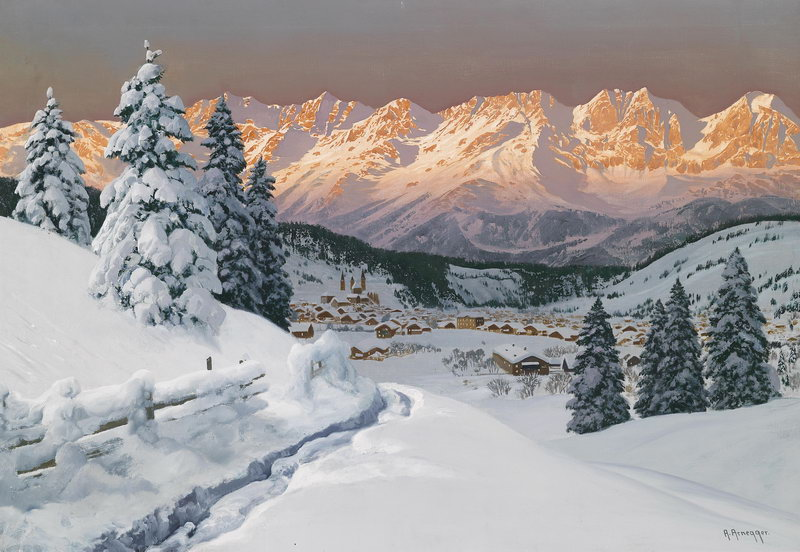 "Пейзажи ""Арнеггер Алуа, Вид Кутсбушеля"", 29x20 см, на бумаге от Artwall"