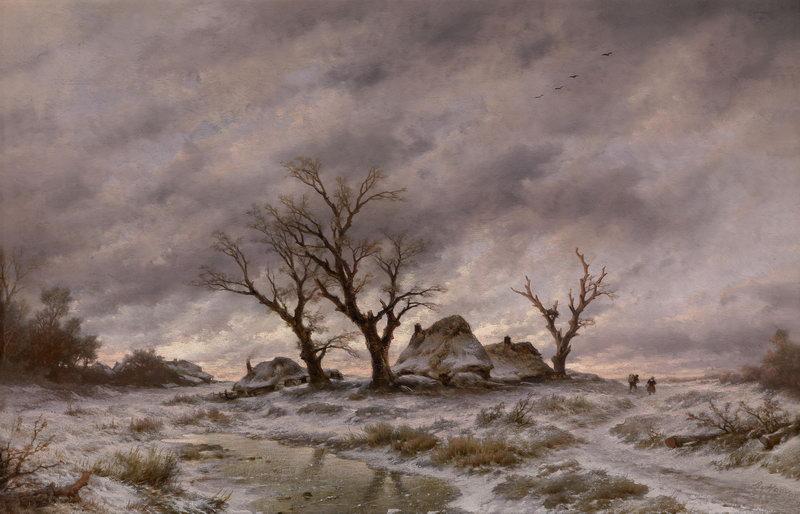 """Пейзажи """"Хаанен Ремигиус ван, Зимний пейзаж в сумерках"""", 31x20 см, на бумаге от Artwall"""
