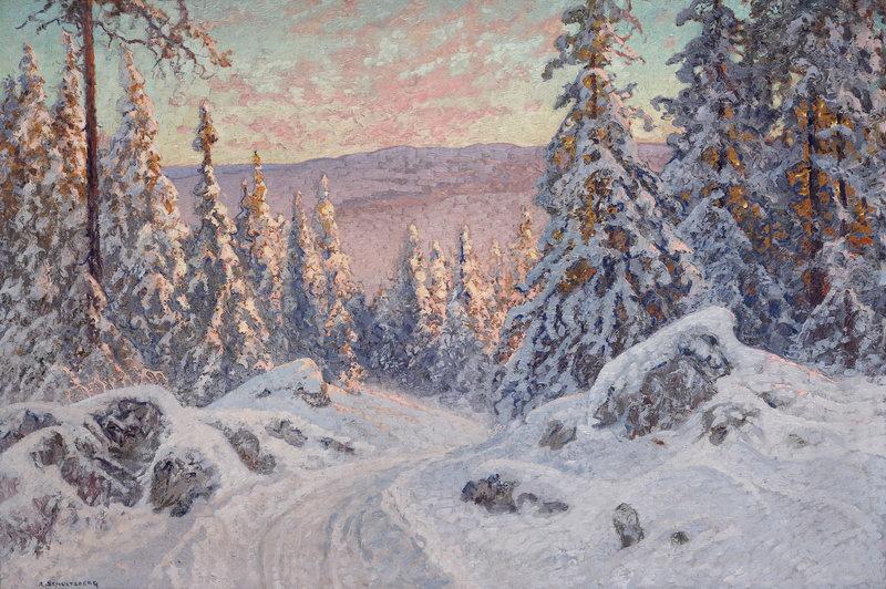"""Пейзажи """"Шультцберг Анхелм, Зимняя дорога"""", 30x20 см, на бумаге от Artwall"""