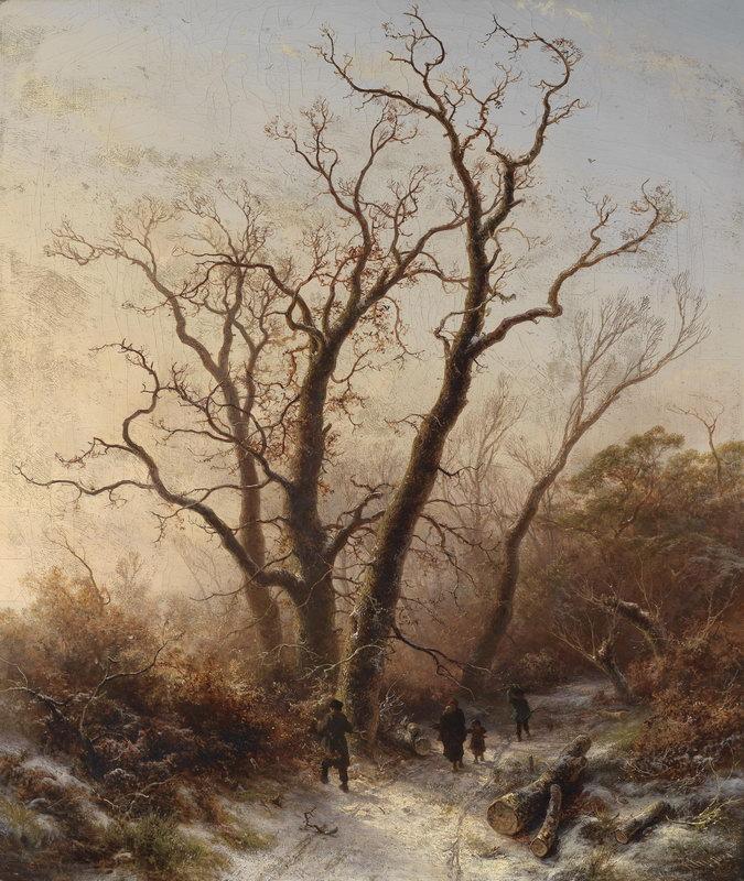 """Пейзажи """"Вервир Саломон Леонардус, Сбор дров на холодный зимний день"""", 20x24 см, на бумаге от Artwall"""