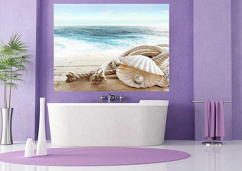 декор ванной с помощью панно и напольного декора