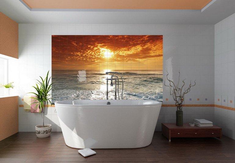 панно из плитки как средство декора ванной