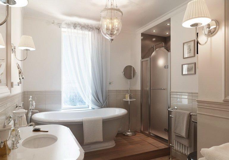 украшение ванной светильниками картинами и зеркалами