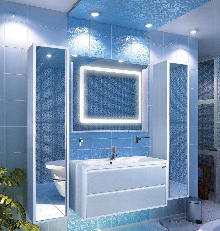украшение ванной зеркалами и подсветкой