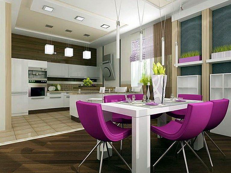 Как совместить столовую с кухней, зонирование кухни-столовой.
