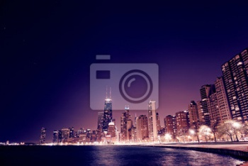 Chicago Downtown в ночи,