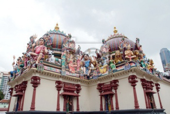 Деталь Sri Mariamman temple в Сингапуре, Сингапур