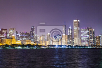 Chicago Downtown Skyline Ночью, Чикаго