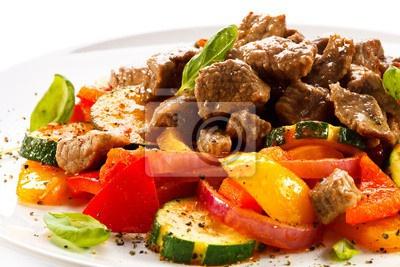 Постер Жареное мясо и овощи, постер Полуфабрикат, 60194496