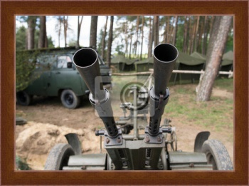 Магнитная картина Old time Anti aircraft machine gun,