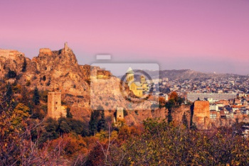 Narikala fortress at sunrise in Tbilisi, Georgia country, Тбилиси