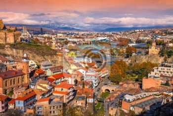 Beautiful panoramic view of Tbilisi at sunset, Georgia country,