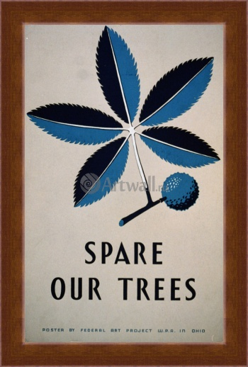 Магнитная картина Spare Our Trees Vintage Printable Poster, Works Progress Administration (USA)