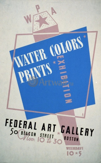 Water Colors Prints Vintage Poster, Works Progress Administration (USA)