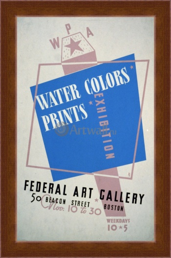 Магнитная картина Water Colors Prints Vintage Poster, Works Progress Administration (USA)