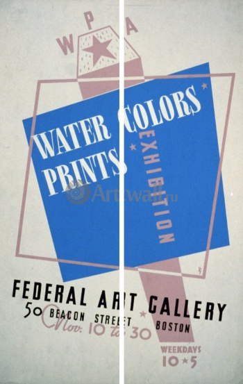 Модульное панно Water Colors Prints Vintage Poster, Works Progress Administration (USA)