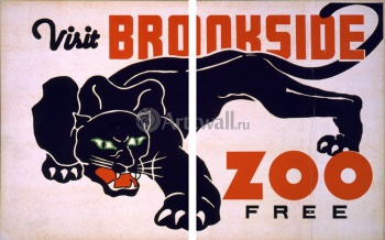 Модульное панно Посетите Brookside Zoo Free, Works Progress Administration (USA)