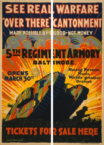 Модульное панно See Real Warfare, Over There Cantonment, 5th Regiment Armory Baltimore, Пропаганда