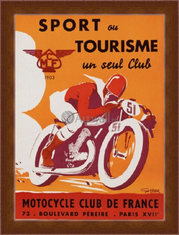 Магнитная картина Sport ou Tourisme un seul Club, Motorcycle Club de France, Реклама