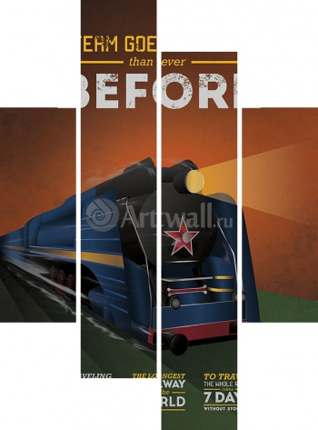 Модульное панно Train Posters Celebrate 100th anniversary of Bradshaw's Continental Railway Guide 3,