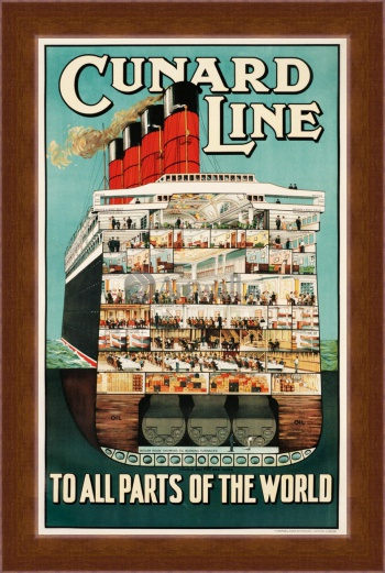 Магнитная картина Cunard Line, To All Parts of the World,