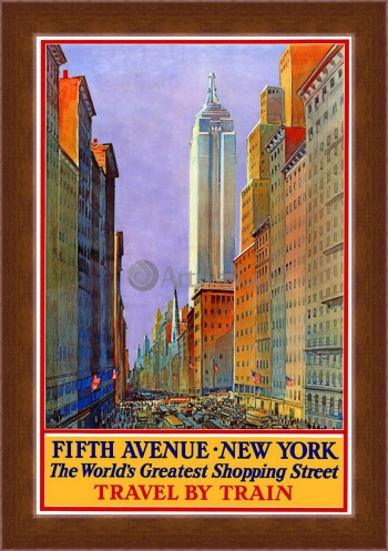 Магнитная картина Fifth Avenue, New York The World's Greatest Shopping Street, Travel by Train,